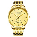 LONGBO Luxury Men's Gold Stainless Steel Band Analog Quartz Business Watch Vintage Couple Dress Watch Rhinestone Fake Chrono Eye Gold Wristwatch For Gentleman