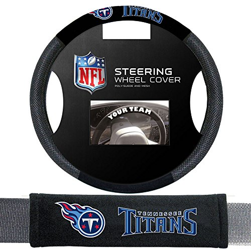 Fremont Die Tennessee Titans NFL Steering Wheel Cover and Seatbelt Pad Auto Deluxe Kit by Fremont Die