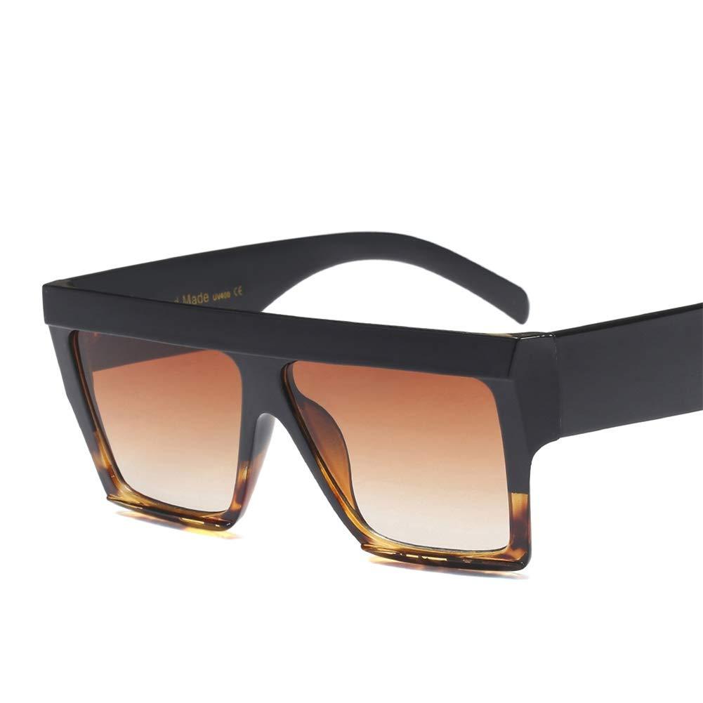 e5e3c01474 Amazon.com  Oversized Rectangle Sunglasses Women Thick Frame Sun Glasses  Men Accessories (black leopard)  Clothing