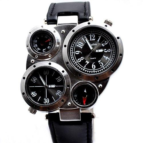 Oulm Special Design 4 Dials Dual Japan Movt Time Compass Thermmeter Sport Military Men Quartz Wristwatch   Black