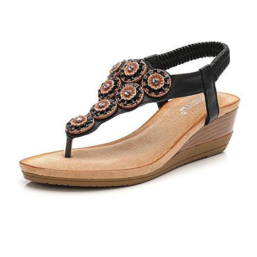 Meeshine Womens Wedge Sandal Platform Rhinestone Dress Sandals Bohemia Shoes Black -06 US 9.5