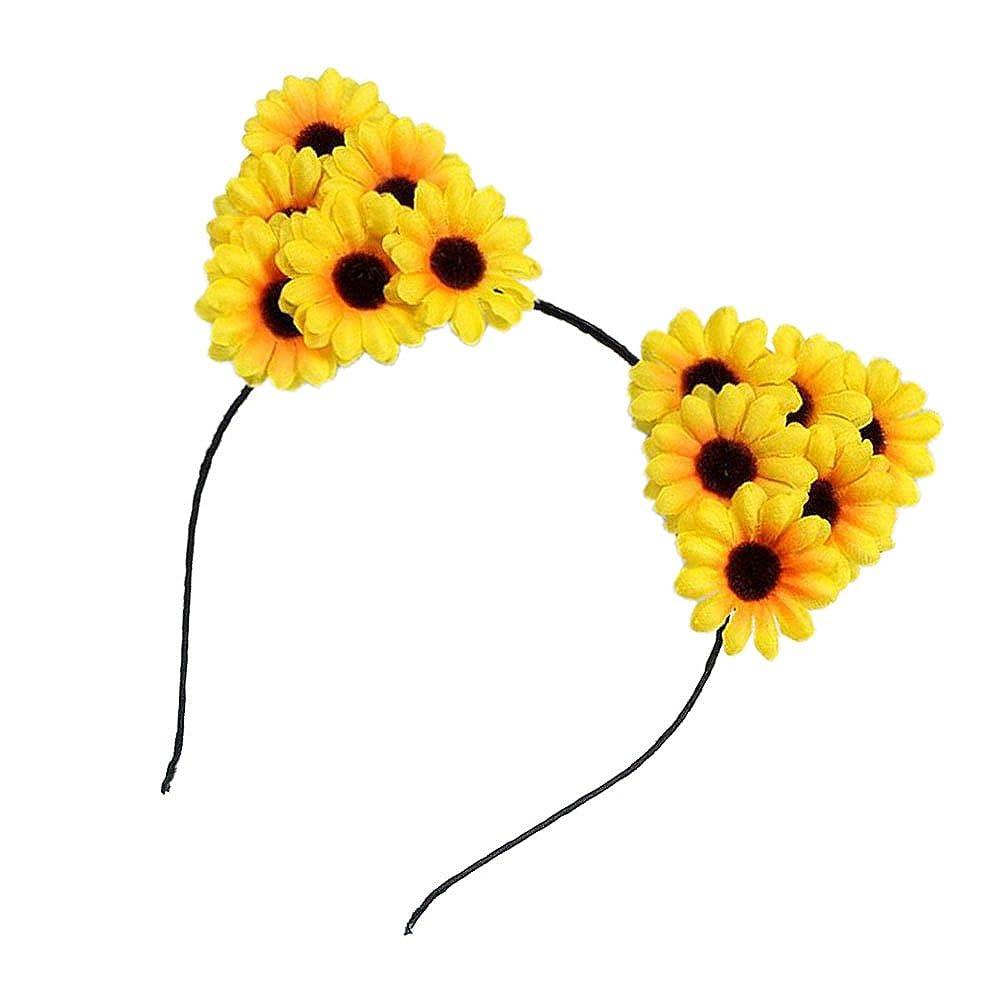 Floral Fall Sunflower Crown Hair Wreath Bridal Headpiece Festivals Hair Band F-40