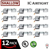 """ESD Tech 4"""" Inch LED Remodel Recessed Can – Air Tight IC Rated Housing for Retrofit Lighting, UL Listed and Title 24 Certified (Shallow) (12-Pack)"""