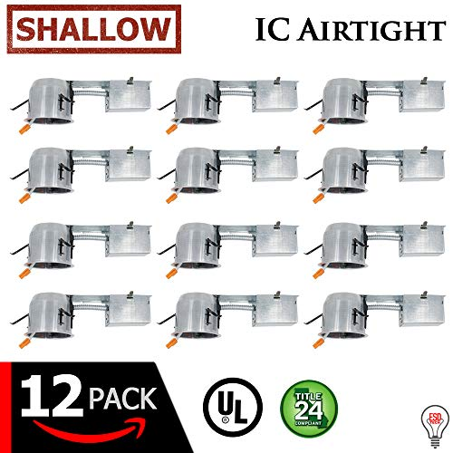 "ESD Tech 4"" Inch LED Remodel Recessed Can – Air Tight IC Rated Housing for Retrofit Lighting, UL Listed and Title 24 Certified (Shallow) (12-Pack) by ESD Tech"