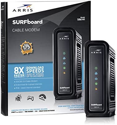 ARRIS SURFboard (8×4) DOCSIS 3.0 Cable Modem, approved for Cox, Spectrum, Xfinity & more (SB6141 Black)