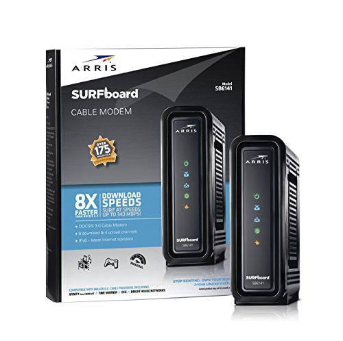 ARRIS SURFboard SB6141 8×4 DOCSIS 3.0 Cable Modem- Retail Package- Black