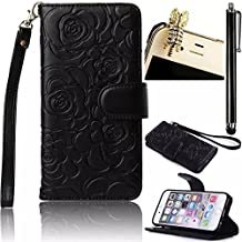 iPhone 6 6s Wallet Case,Vandot Premium Emboss Flower Flip Folio Stand Wallet Shell PU Leather Magnetic Closure Protective Cover Skin For Apple iPhone 6 6s 4.7 Inch with Wrist Strap+Diamond Cat Anti Dust plug+stylus pen-Black