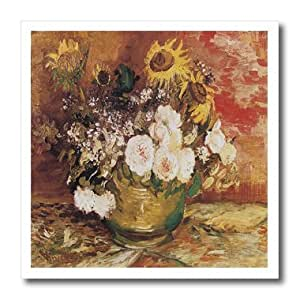 ht_128115_3 BLN Vincent Van Gogh Collection - Bowl of Sunflowers, Roses and Other Flowers by Vincent Van Gogh - Iron on Heat Transfers - 10x10 Iron on Heat Transfer for White Material