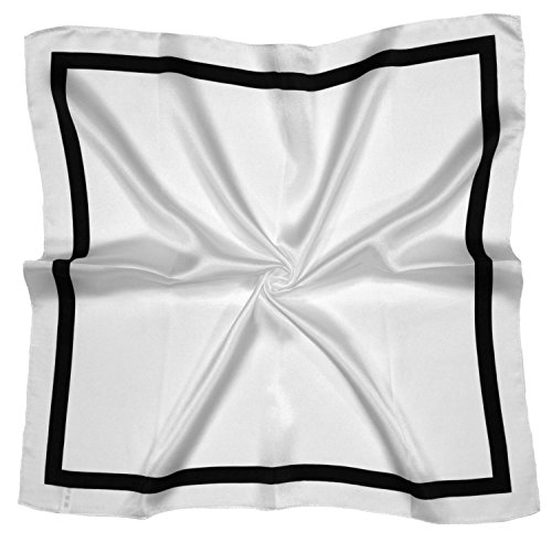 White Black Square Printed Thick Small Silk Square Scarf (Scarf Silk Thick)