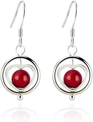 Design 4 925 Sterling Silver Heart Drop//Dangle Earrings