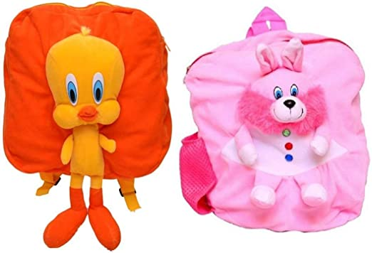 Jassi Toy Duck & Rabbit Soft Toy Decor School Bag for Kids Combo Offer (Pack of 2)