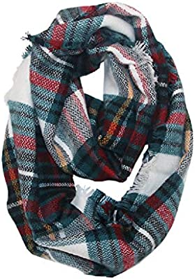 Womens Plaid Blanket Winter Scarf Cashmere Grid Warm Tartan Wrap Classic Shawl Scarves Cape
