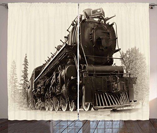 Ambesonne Steam Engine Curtains 2 Panel Set, Antique Northren Express Train Canada Railways Photography Freight Machine Print, Living Room Bedroom Decor, 108 W X 90 L Inches, Tan Dark - Gift Express Train