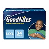 : GoodNites Bedtime Bedwetting Underwear for Boys, L-XL, 34-Count, Stripe and Camouflage Design, Protective Nighttime Underwear for Boys