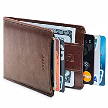 HUSKK Leather Wallet for Men - Credit Card Sleeve Holder With Money Strap [CSBW2-DB]