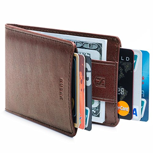 Ridge Leather Blue (Men Wallet - RFID Minimalist Slim Front Pocket Card Travel Holder Clip F54)