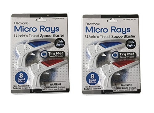 Micro Ray Space Blaster - World's Tiniest - Lights and Sounds - Package (1 Red & 1 Blue)