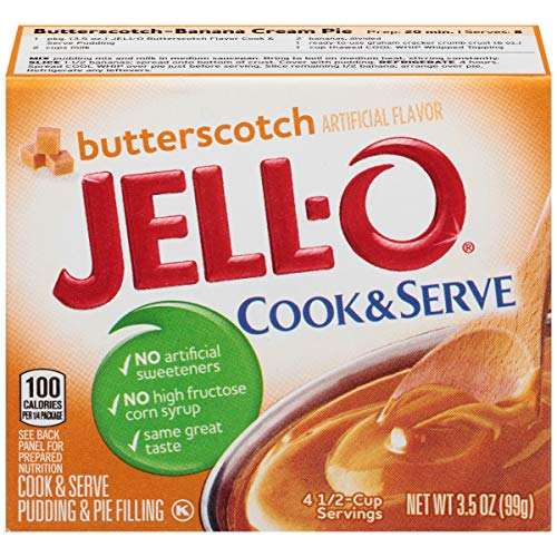 JELL-O Butterscotch Cook & Serve Pudding & Pie Filling Mix (3.5 oz Boxes, Pack of - Butter Pudding