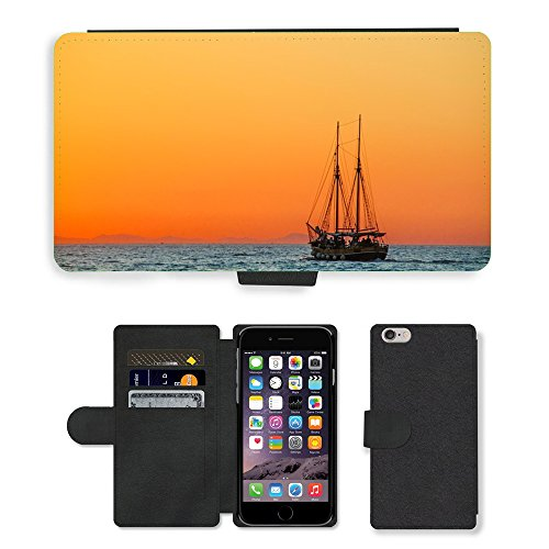 "PU Leather Cover Custodia per // M00421622 Sea Sailing Vessel Boot navire // Apple iPhone 6 PLUS 5.5"""