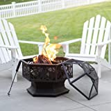 28 in. Hexagonal Rustic Wood Burning Steel Fire Pit with Free PVC Plastic Cover for Backyard