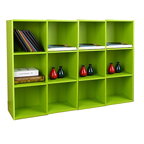 Moon Daughter 4Pcak 3 Shelf Bookcase Storage Adjustable Bookshelf Wood Home Office (Narrow Plate Latch)