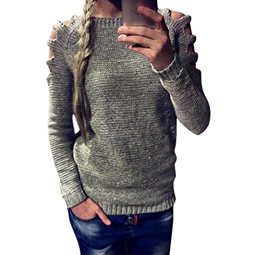 Women Long Sleeve VIASA Loose Cardigan Knitted Sweater (L, Gray)