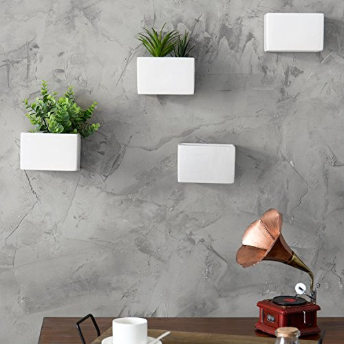 MyGift Modern White Ceramic Wall Hanging Succulent & Herb Planter Box, Set of 4 by MyGift (Image #3)
