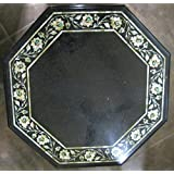 """21"""" Black Coffee Table Side Table End Table Patio Garden Table Sofa Table Octagon Shape Stones Inlai Marble Table Top"""