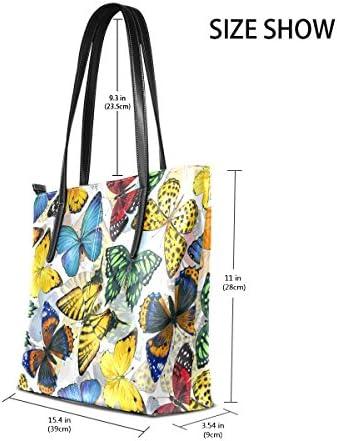 COOSUN Motif Papillon coloré PU Sac à bandoulière en Cuir et Sacs à Main Sac à Main Sac fourre-Tout pour Les Femmes Moyen # 001 Multicolore