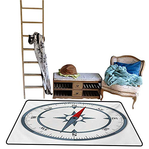 Tankcsard Bedroom Carpet Compass,Minimalist Design Compass with Windrose Finding Your Way on The Sea Navigation,Slate Blue Red.jpg 24