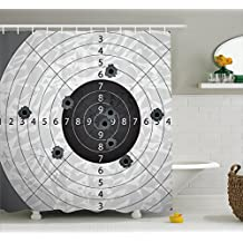 Military Decor Shower Curtain by Ambesonne, Gun Bullet Holes on Paper Target Army Weapon Danger Violence Themed Image, Fabric Bathroom Decor Set with Hooks, 70 Inches, Charcoal Grey