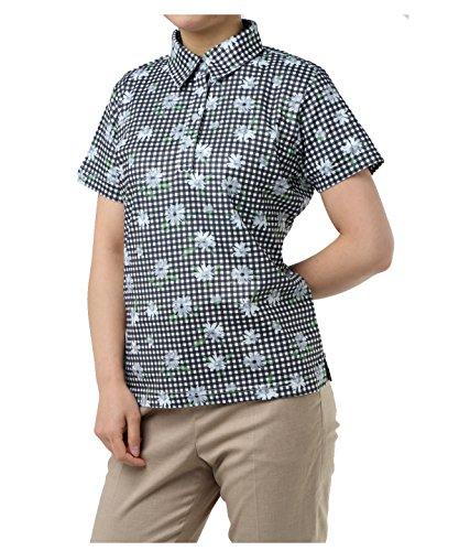オプスト レディース ゴルフウェア ポロシャツ 半袖 チェックフラワー半袖シャツ OP220301H09 BK O