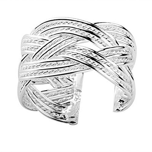 Adjustable Rings for women - Celtic Rope Ring - (one size fits all rings) Open Back adjustable Irish ring band - (Silver Plated) fashion rings for women (Adjustable Irish Celtic Rope Ring) (Knot Cetic)
