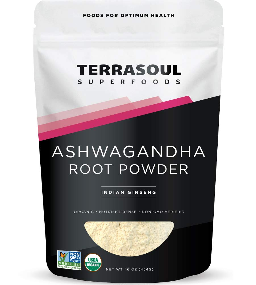 Terrasoul Superfoods Organic Ashwagandha Root Powder, 1 Lb - Stress Adaptogen | May Improve Sleep | Lab-Tested for Quality