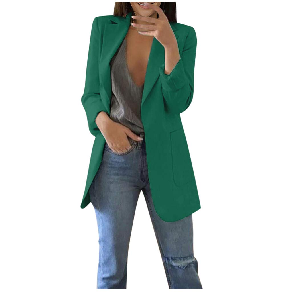 〓COOlCCI〓Women Blazers & Suit Jackets, Oversized and Loose Fit Work Blazer with Pocket Novelty Open Front Cardigan Coats Army Green by COOlCCI_Womens Clothing