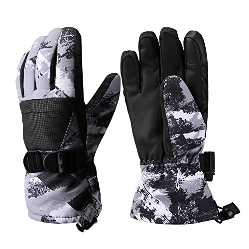 Aisprts Ski Gloves, Warmest Waterproof and Breathable Snow Gloves for Mens,Womens,Ladies and Kids Skiing,for Parent Child Outdoor (Gray, XL(Fit Mens' Size))