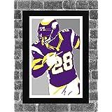 Minnesota Vikings Adrian Peterson Portrait Sports Print Art 11x17