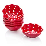Hoomeet 4 oz Porcelain Ramekins, Dessert Bowls, Ice Cream Bowls, Snack Bowls, Dipping Bowls, Set of 6, Shell Shaped.(Red)