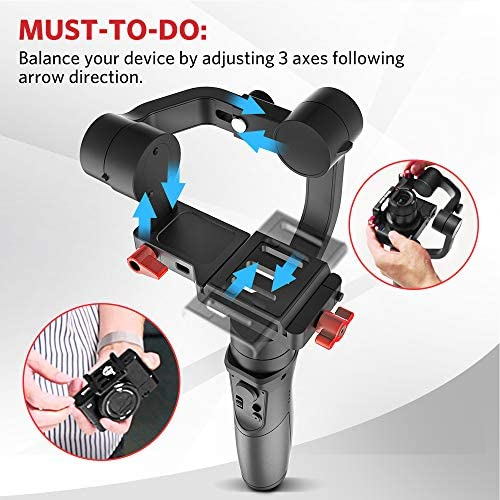 Hohem All in 1 3-Axis Gimbal Stabilizer for Compact Cameras/Action Camera/Smartphone w/ 600° Inception Mode, 0.9lbs Payload for iPhone 11 Pro Max/Gopro Hero 8/Sony Compact Camera RX100 – iSteady Multi 511lVfjF5ML