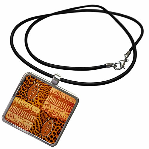 3dRose Andrea Haase Art Illustration - African Ethno Style Illustration In Warm Colors - Necklace With Rectangle Pendant (ncl_276271_1)