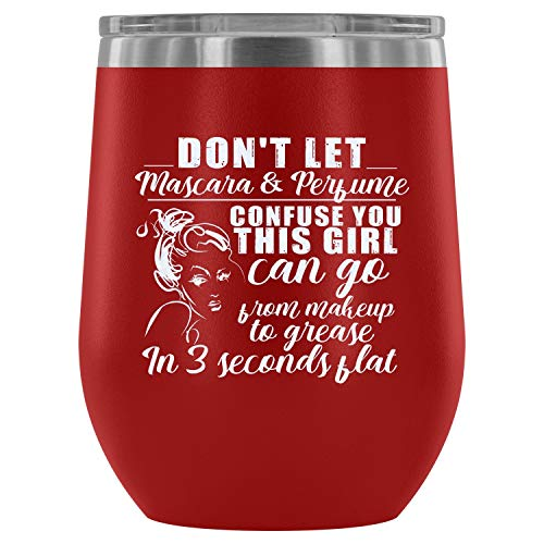 Steel Stemless Wine Glass Tumbler, Makeup Vacuum Insulated Wine Tumbler, This Girl Can Go From Makeup Wine Tumbler (Wine Tumbler 12Oz - Red) -