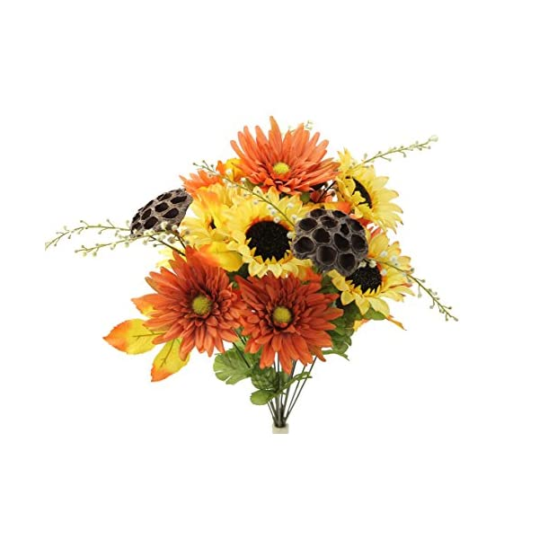 Admired By Nature GPB6409-YW/COFF/RUST 14 Stems Artificial Sunflower, Gerbera Daisy and Lotus Root Mixed Flowers Bush for Home Office, Wedding, Restaurant Decoration Arrangement, Yellow/Coffee/Rust