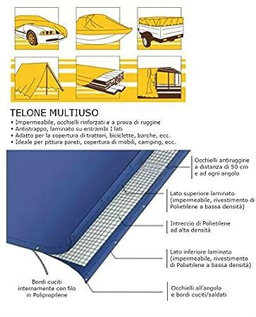 Occhiellato e Cerato Rinforzati 6x8m Telo Impermeabile Esterno Teloni per Coperture 90g//m/² Blu//Verde Antipioggia