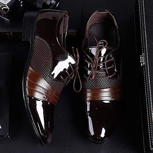 Casual De De Punta ALIKEEYNegocio Moda con Marrón Hombres De Zapatos Oxford Cordones Zapatos Zapatos qFxE4xzn