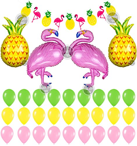 Flamingo and Pineapple Party Decorations - Pack of 34, 1 Flamingo Pineapple Banner | 2 Flamingo Balloons 2 Pineapple Balloons,Large | 21 Latex Balloon Pink,Green & Yellow | Flamingo Party Supplies