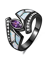 Lady Rings White Fire Opal Purple Cubic Zirconia Black Plated Flower Leaf Bypass Party Jewelry Mother 's Day Gift Size 5-10