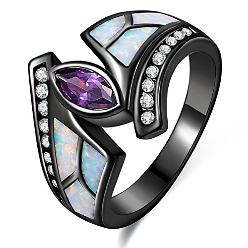 Lady Rings White Fire Opal Purple Cubic Zirconia Black Plated Flower Leaf Bypass Party Jewelry Size 7 (Flower Bypass)
