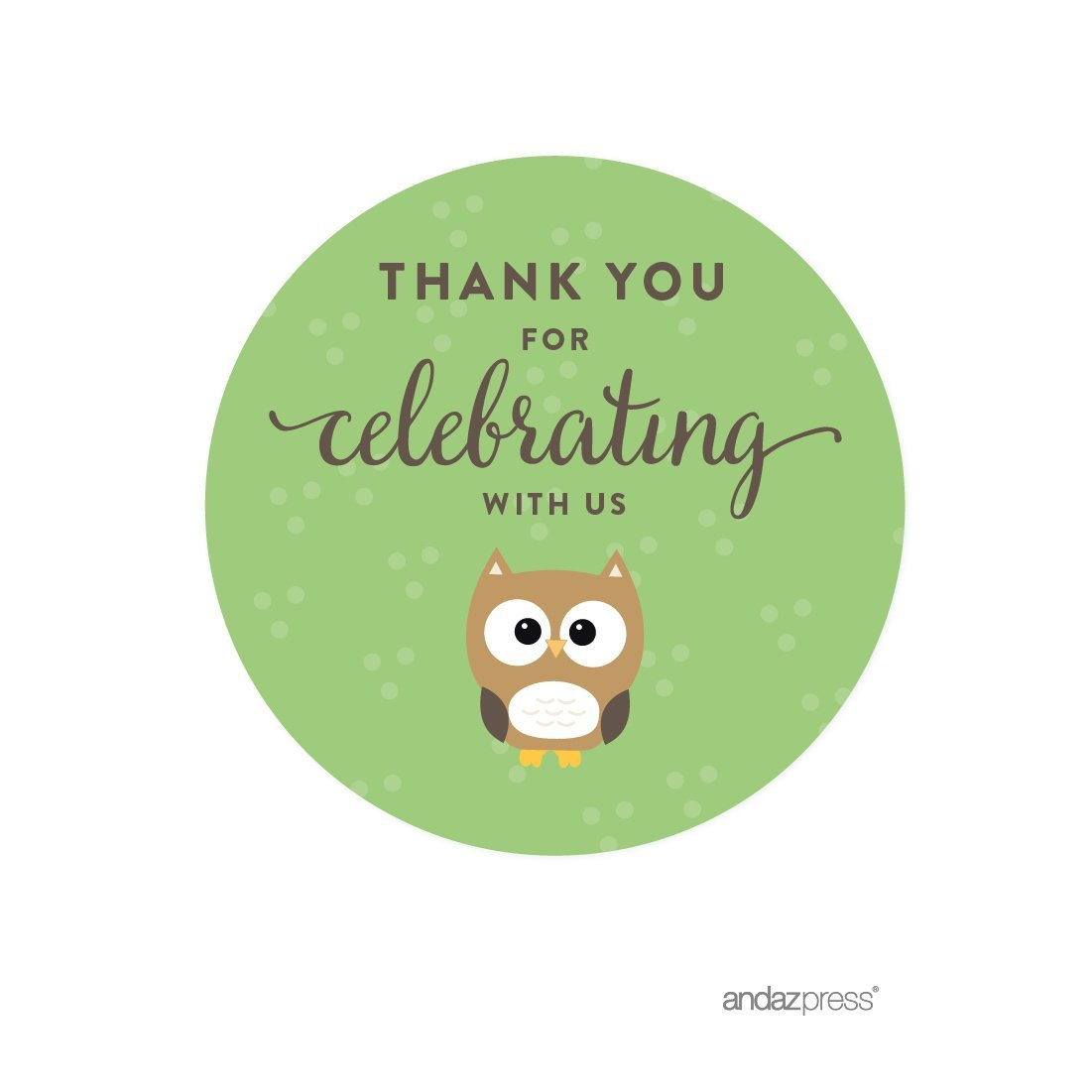 Amazon com andaz press birthday and baby shower round circle labels stickers thank you for celebrating with us woodland owl 40 pack for gifts and party