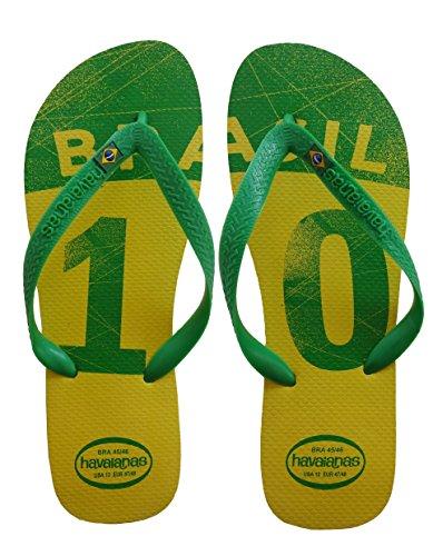 Havaianas BRASIL CUP Gelb (Yellow) 41/42 BR (42/43 EU), Herren Erwaschen Strandsandalen Zehnentrenner