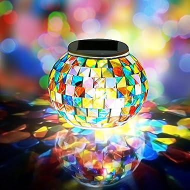 AOMOMO LED Solar Powered Mosaic Glass Ball Garden Patio Lights Rainbow